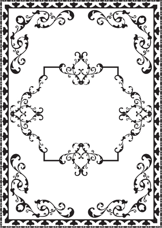 Vintage baroque frame is on white
