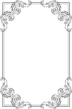 baroque frame: Baroque frame is on white Illustration