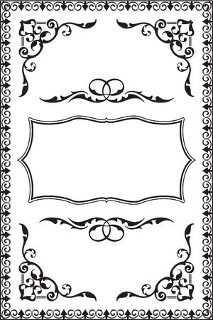 Baroque vintage frame is on white