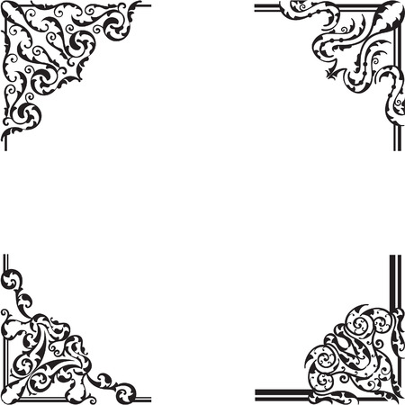 Ornate corner set is on white Vector