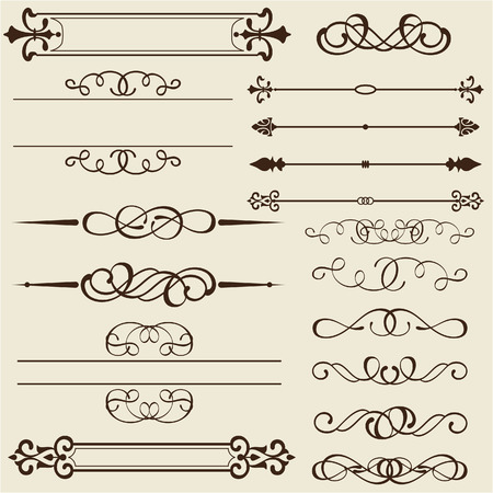 florid: Set of design elements is on white Illustration