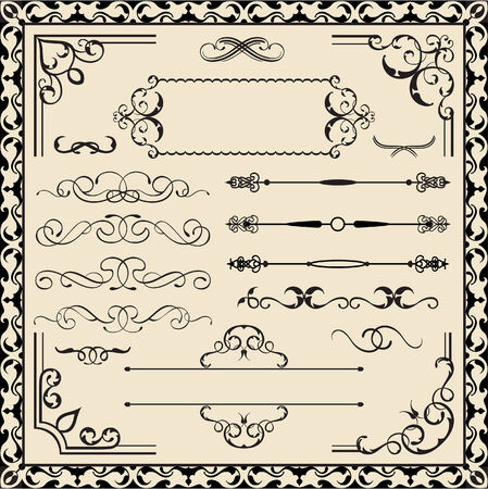 figuration: Set of calligraphy ornate elements Illustration