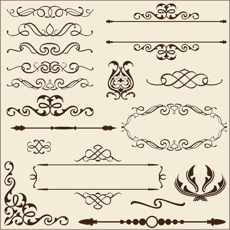 isoladed: Baroque ornate set  isoladed on beige Illustration
