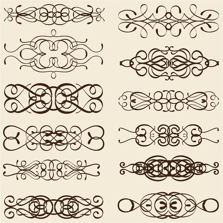 divides: Dividir l�neas Curle aislados en color beige Vectores