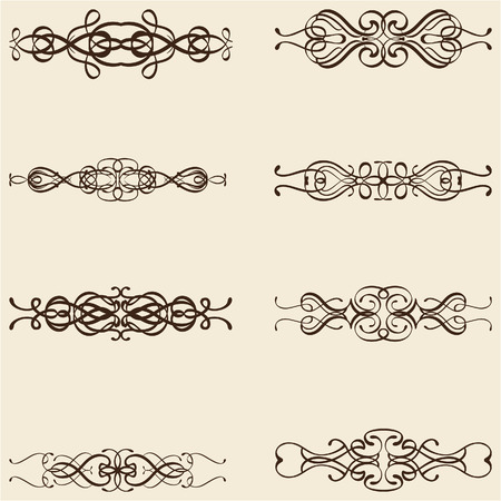 figuration: Ornate divide lines isolated on beige