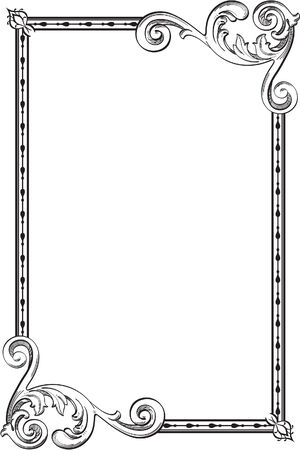 interweaving: Baroque frame is isolated on white Illustration