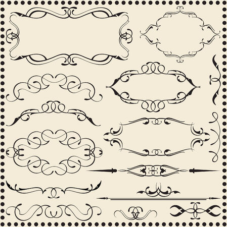 interweaving: Classic scroll elements set isolated on beige Illustration