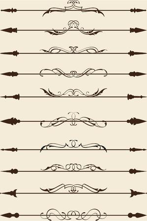 Victorian divide line set on beige Vector