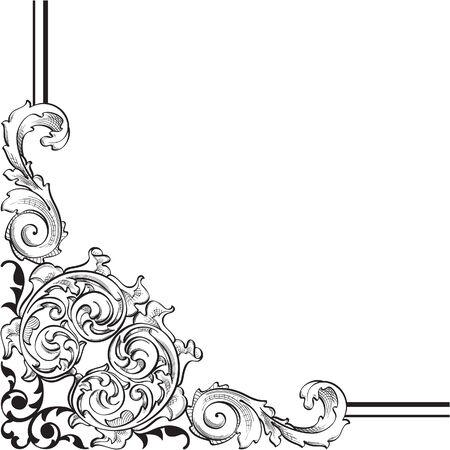 florid: Ornate corner is on white Stock Photo
