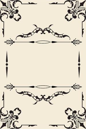 florid: Vintage ornate page is on beige