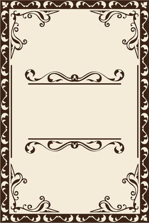 interweaving: Vintage scroll page is on beige Illustration