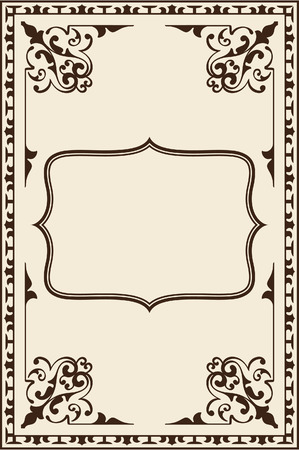 florid: Ornate vintage page on beige Illustration