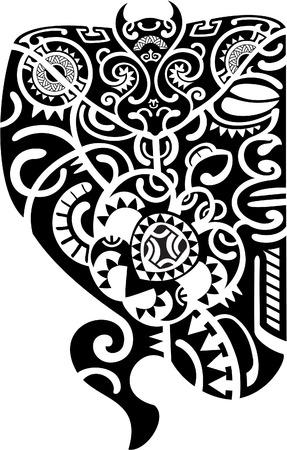 polynesian ethnicity: Maori tattoo design is on white Illustration