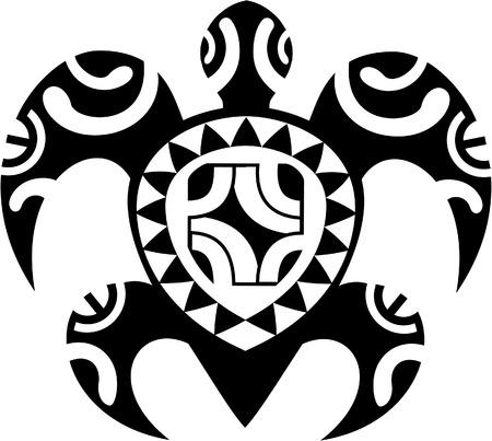 turtle isolated: Maori tortuga aislado en blanco Vectores