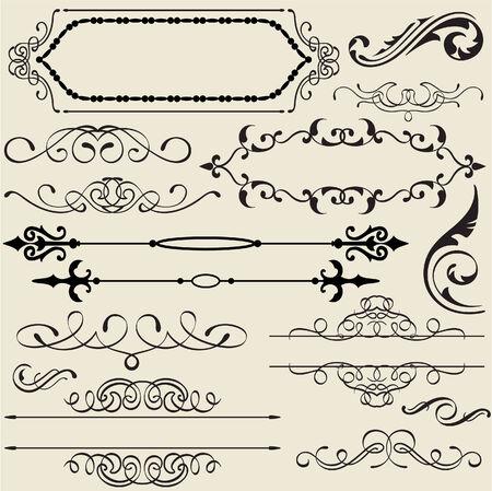 vintage ornament: The vintage calligraphy design set