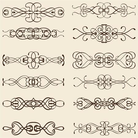 divides: Dividir l�neas cl�sicas adornadas aislados en color beige Foto de archivo