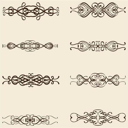 divide: Ornate divide lines isolated on beige