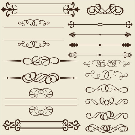florid: Set of design elements is on white Stock Photo