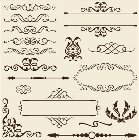 isoladed: Baroque ornate set  isoladed on beige Stock Photo