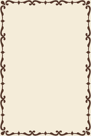 vintage illustration: Victorian old frame is on beige