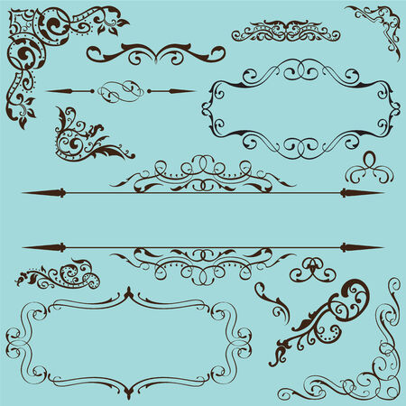 gothic revival style: Victorian fine set on blue Illustration