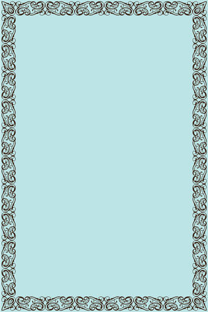 vintage leaf: Greating page is isolated on blue