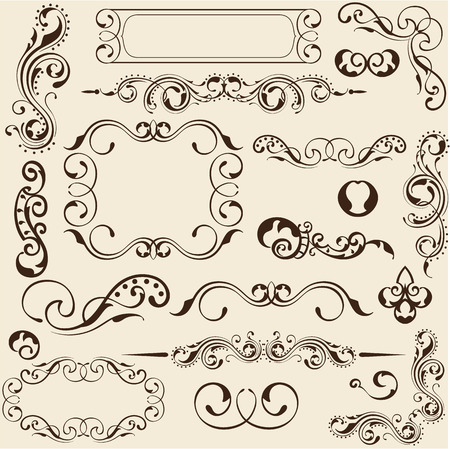 ornament frame: Design elements set is on beige Illustration