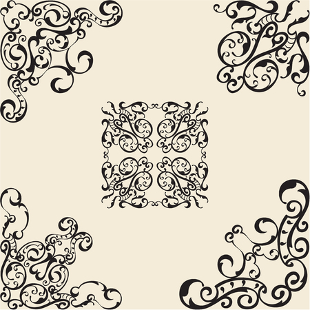 figuration: Perfect corner elements is on beige Illustration