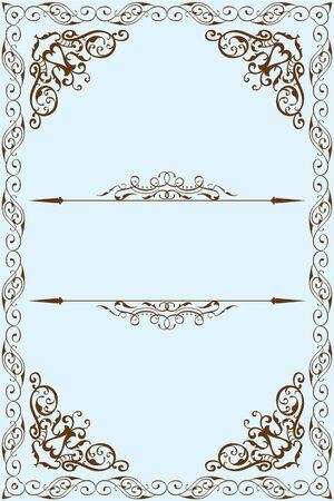 florid: Victorian fine frame is on blue Illustration