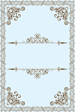 leaves frame: Victorian frame is on blue