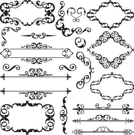 florid: Vintage ornate art set is on white