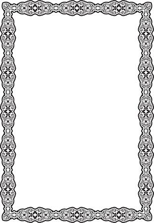art frame: Ornament calligraphic art frame is on white Illustration