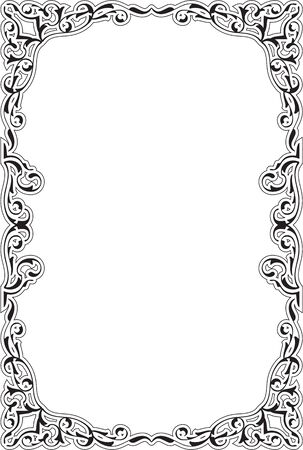 figuration: Baroque ornate pages frame on white