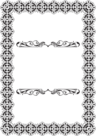 scroll: Baroque Vintage Scroll Frame on white Illustration