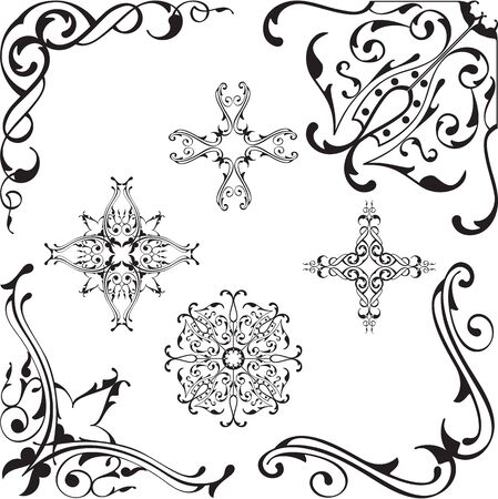scroll: Scroll baroque corners set on white