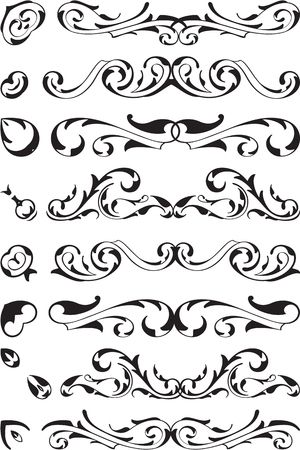 divide: Divide victorian design brush set is on white Stock Photo