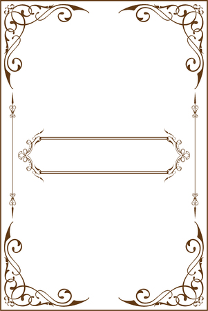 vintage retro frame: Victorian art border is on white Stock Photo