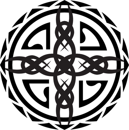 polynesian ethnicity: Maori circle sign is isolated on white