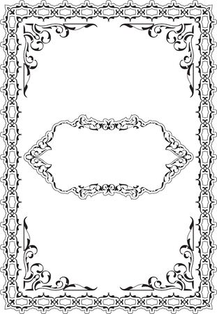 The vintage ornamente scroll fine page on white Stock Photo