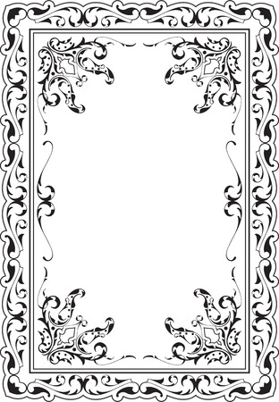 victorian scroll: Victorian scroll art frame is on white