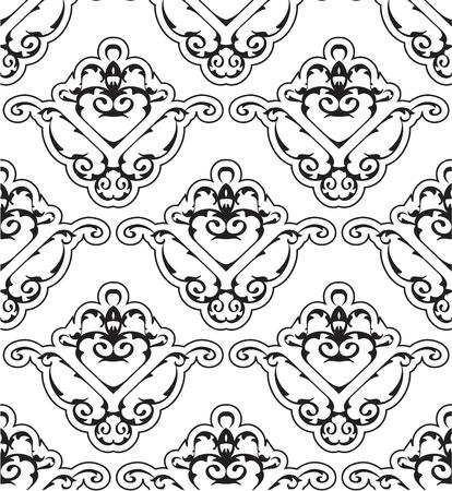 figuration: Ornate seamless victorian pattern on white Stock Photo