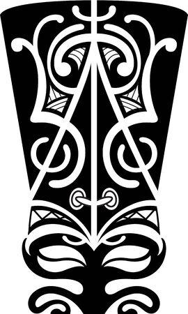 polynesian: Maori mask is isolated on white