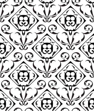 figuration: Baroque seamless ornate pattern isolated on white