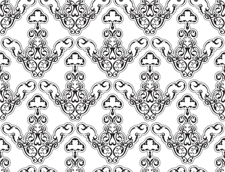 scroll tracery: Seamless swirll art pattern isolated on white Illustration