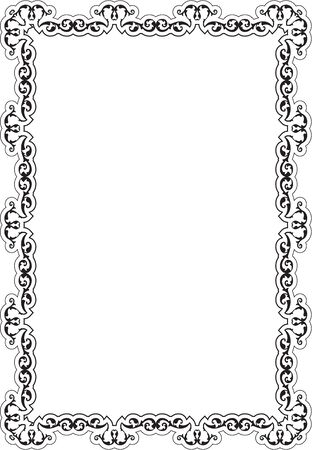 florid: Ornate frame is isolated on white Illustration