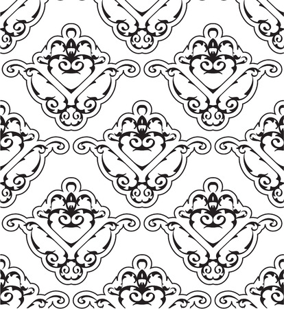 scroll tracery: Ornate seamless victorian pattern on white Illustration