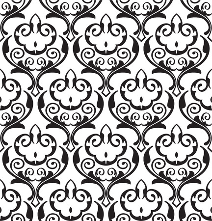 scroll tracery: Baroque swirll seamless pattern is on white