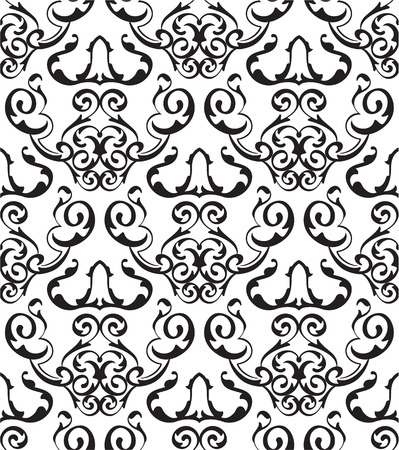 figuration: Baroque art seamless pattern is on white Illustration
