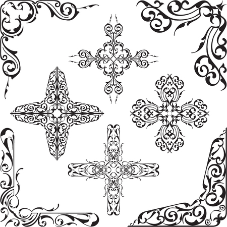 corner ornament: Baroque luxury corner set on white Illustration