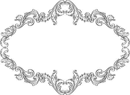 Het krullende ornamenten kunst frame op wit